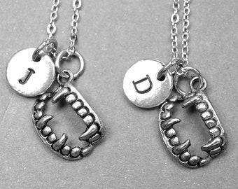 Best friend necklace, vampire teeth necklace, vampire necklace, halloween necklace, vampire jewelry, best friend jewelry, best friend gift