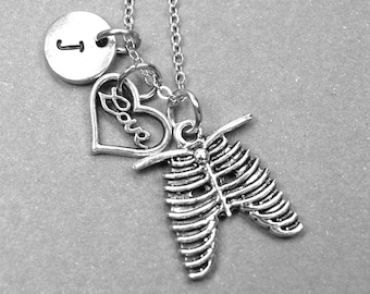 Rib cage necklace, heart necklace, love necklace, skeleton rib cage charm, heart jewelry, ribcage necklace, personalized necklace, monogram