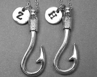 Best friend necklace, fish hook necklace, fishhook necklace, fishing necklace, bff necklace, friendship jewelry, personalized necklace