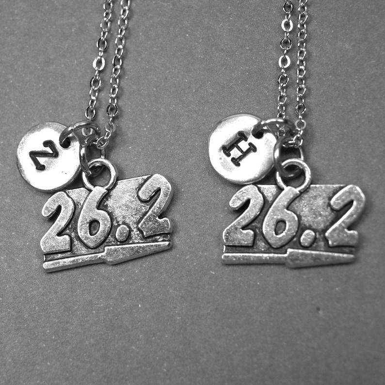 bff necklace athletic jewelry personalized necklace marathon jewelry sports jewelry initial charm best friend jewelry 26.2 necklace