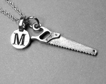 Saw Necklace hand saw charm, silver pewter, initial necklace, initial hand stamped, personalized, monogram