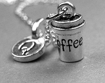 Coffee cup necklace, coffee necklace, coffee cup charm, coffee cup jewelry, personalized necklace, personalized gift, coffee lover gift