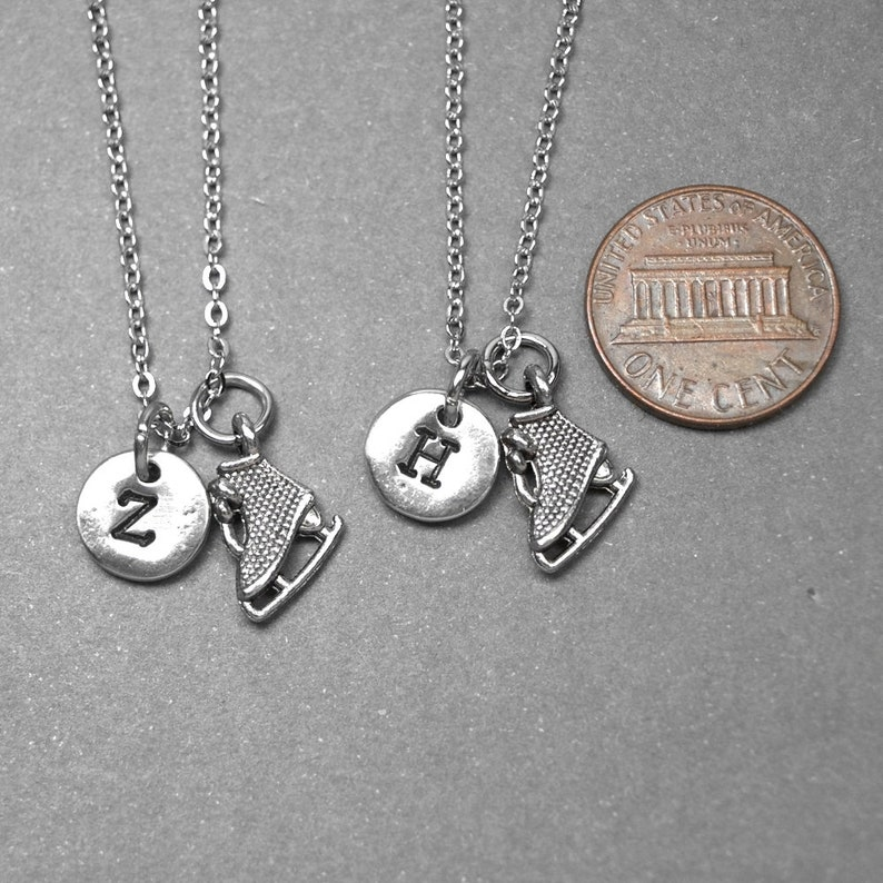 ice skate necklace friendship jewelry skating team gift sports necklace skating necklace initial Best friend necklace bff necklace