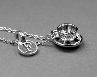Tea cup and saucer necklace, coffee cup necklace, tea cup necklace, coffee cup, tea necklace, tea cup, personalized gift, initial necklace