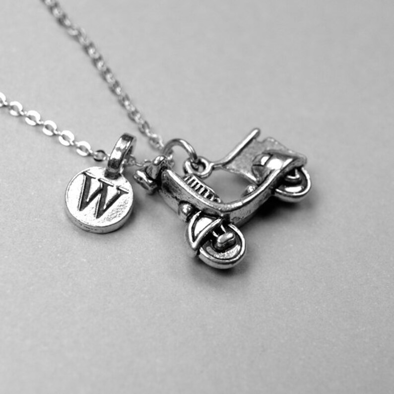 initial necklace personalized jewelry bike necklace Scooter Necklace motorbike monogram letter Motorcycle Necklace Vespa Necklace