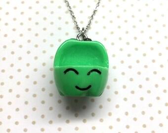 Green Apple Necklace, Kawaii apple charm, Cute Kawaii apple pendant, fruit charm, Kawaii food charm, miniature food jewelry, kawaii gift