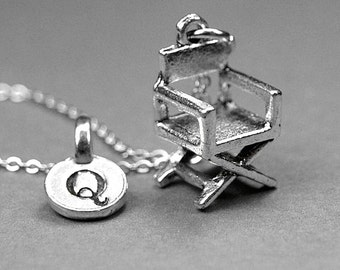 Directors chair necklace, director chair charm, filmmaker necklace, film maker charm, movie necklace, personalized gift, initial necklace