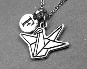 Origami crane necklace, origami bird necklace, paper crane necklace, origami bird jewelry, paper crane jewelry, personalized charm, initial