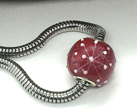 Red Big Hole Bead For European Bracelets Pandora Style Beads Large Hole Charms Glass Beads For Jewelry Large Core Beads Snowflake Focal Bead