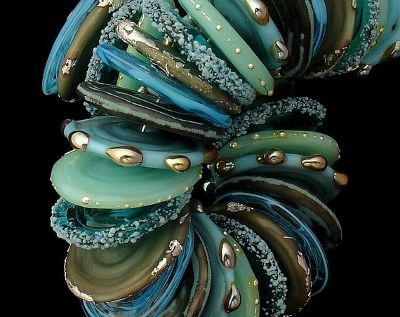 Handmade Aqua Lampwork Beads For Jewelry Supply Ocean Glass Beads Organic Beads For Necklace Beading Bracelet Beach Jewelry Debbie Sanders