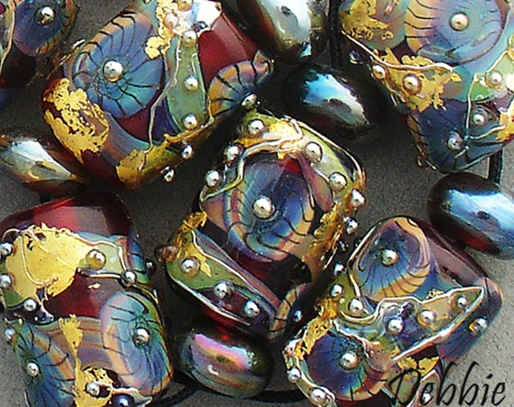 Lampwork Beads Handmade Glass Beads For Jewelry Supplies Boho Jewelry Sets Organic Beads Holiday Jewelry Beads Beading Crafts Debbie Sanders