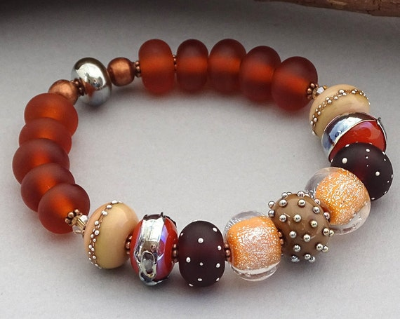 Brown Boho Bead Bracelet Bohemian Jewelry Lampwork Beads Handmade Fall Bracelet Round Bead Bracelet Gift For Her Patterned Jewelry Bracelet