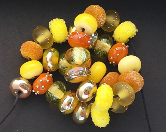 Lampwork Beads Glass Beads Beach Jewelry Bead Necklace Beaded Bracelet Jewelry Supplies For Summer Yellow Beads For Earrings Debbie Sanders
