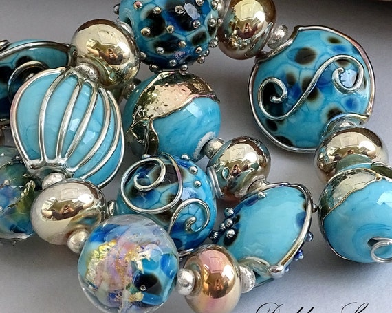 Lampwork Beads For Necklace Glass Beads For Jewelry Making Beaded Bracelet Blue Beads Boho Bracelet Craft Making Debbie Sanders Artist