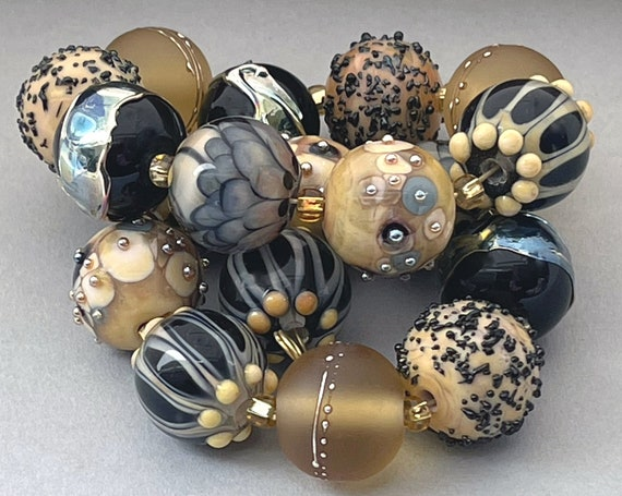 Handmade Lampwork Beads For Jewelry Supplies For Statement Necklace Bead Supplies Organic Beads Artisan Beads Unusual Beads Debbie Sanders