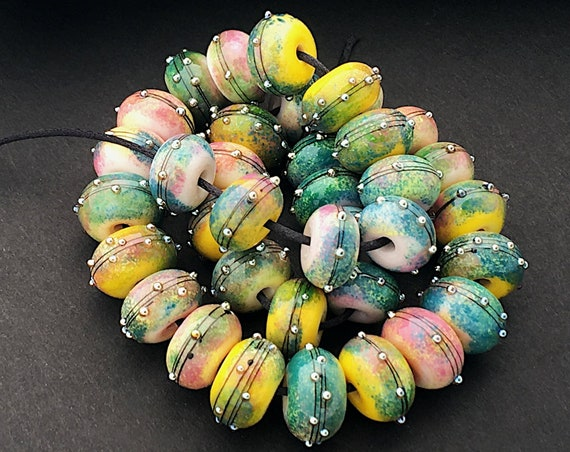 Colorful Lampwork Beads For Jewelry Supplies Glass Beads Statement Necklace Handmade Beads For Beading Bracelet Boho Jewelry Debbie Sanders