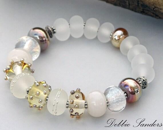 White Boho Bead Bracelet Bohemian Jewelry Lampwork Beads Handmade White Bracelet Round Bead Bracelet Gift For Her Stretch Stack Bracelet