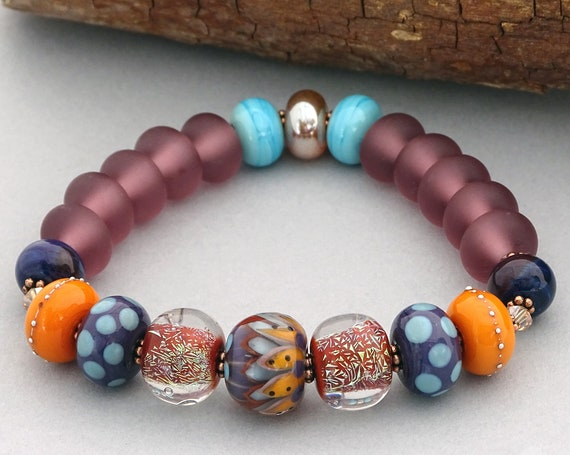 Fall Boho Bead Bracelet Bohemian Jewelry Lampwork Beads Handmade Autumn Bracelet Round Bead Bracelet Gift For Her Patterned Jewelry Bracelet