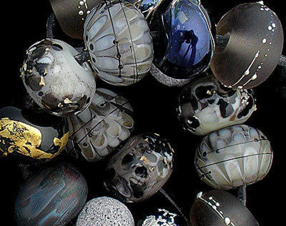 Black Lampwork Beads Statement Necklace Black Round Glass Beads For Jewelry Sets Beads For Jewelry Supplies Petal Beads Debbie Sanders