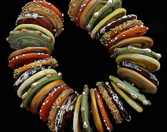 Lampwork Beads Glass Discs Handmade Lampwork Beads Glass Beads For Jewelry Supplies Bead Bracelet Beading Supplies Beads Debbie Sanders