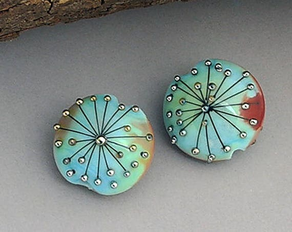 Lampwork Beads Patterned Beads Glass Beads Rustic Beads Earring Pair Jewelry Supplies Beading Supplies Jewelry Making Boho Debbie Sanders