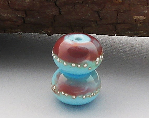 Organic Lampwork Beads Glass Bead Pair For Earrings Supplies Beads For Jewelry Set Unique Pair Blue Beads Handmade Debbie Sanders