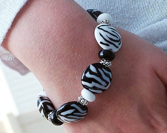 Animal Print Bead Bracelet Zebra Black And White Lampwork Beads Handmade Beaded Safari Bracelet Boho Finished Bracelet Debbie Sanders