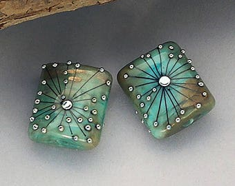 Square Lampwork Beads Copper Green Handmade Glass Beads For Earrings Beads For Jewelry Supplies Crafting Supplies Debbie Sanders Artist SRA