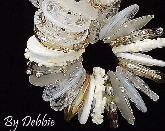White Lampwork Beads For Jewelry Supplies Boho Glass Disc Beads For Earrings Craft Supplies Beads For Bracelet Making Debbie Sanders