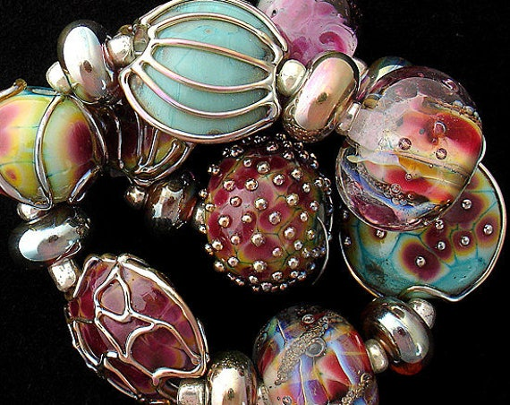 Patterned Beads For Jewelry Supplies Lampwork Beads For Jewelry Sets Beaded Bracelet Bead Statement Necklace Debbie Sanders SRA Artist
