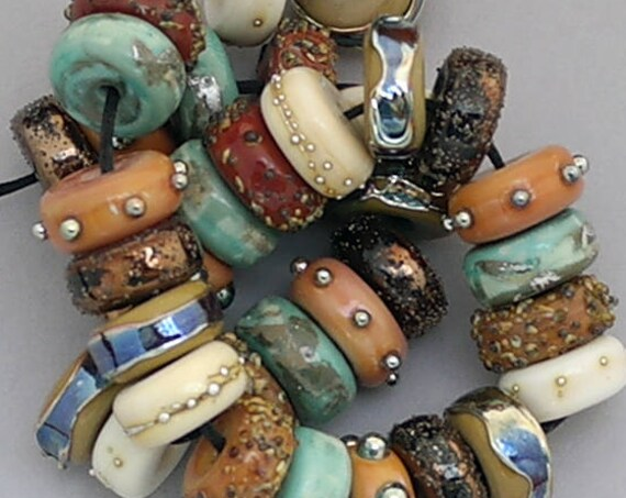 Lampwork Beads Glass Bead Discs Boho Jewelry Statement Necklace Handmade Lampwork Beads For Jewelry Supplies Rustic Lampwork Debbie Sanders