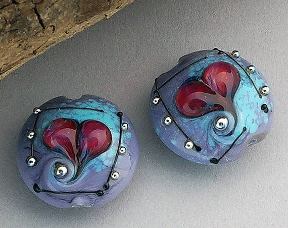 Lampwork Beads Glass Beads Lampwork Earrings Heart Beads Earrings Jewelry Supplies Bead Beading Supplies Beads Lentil Beads Debbie Sanders