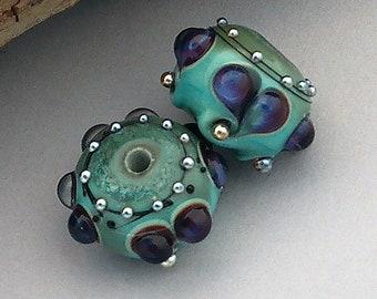 Copper Green Lampwork Beads For Earrings Heart Earring Beads For Jewelry Supplies Beading Supplies Handmade Hearts Debbie Sanders SRA Artist