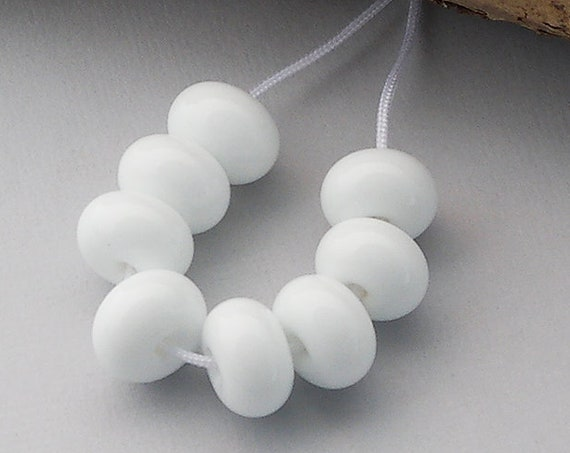 White Spacer Lampwork Beads For Jewelry Supply Glass Beads For Jewelry Design Beads For Craft Supplies Small Round Beads Debbie Sanders