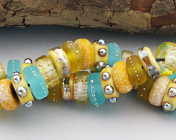 Yellow Disc Lampwork Beads For Jewelry Handmade Glass Beads For Statement Necklace Beaded Bracelet Jewelry Set Summer Jewelry Debbie Sanders