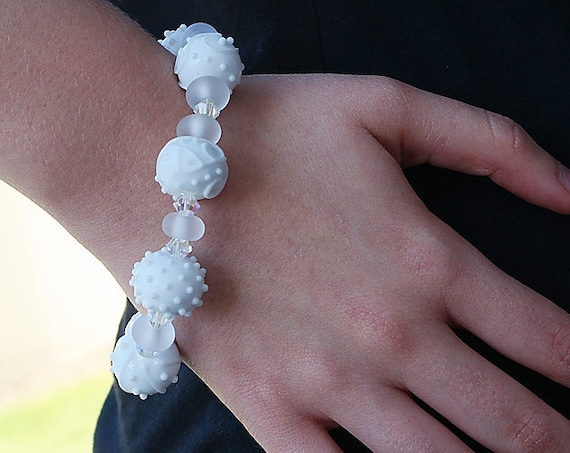 Lampwork Beads Bracelet Handmade Bracelet Glass Bracelet Boho Bracelet Holiday Bracelet Jewelry Beaded Bracelet Gift For Her White Beads
