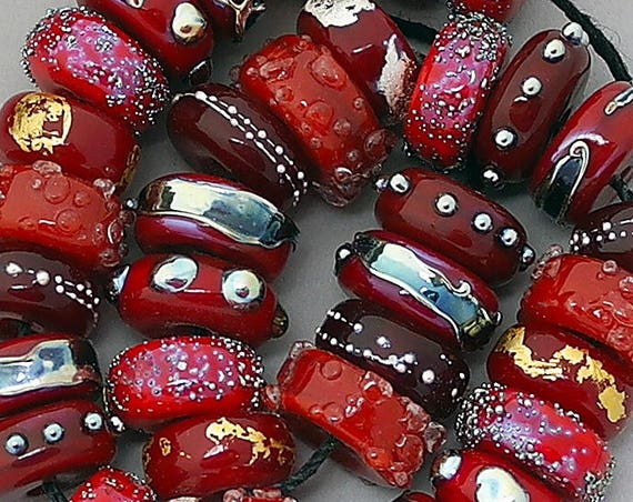 Lampwork Beads Glass Beads Patterned Beads For Jewelry Supplies Red Beads Jewelry Sets Statement Necklace Beads Bracelet Debbie Sanders