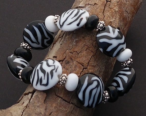 Lampwork Bracelet Handmade Bracelet Glass Bracelet Animal Print Jewelry Set Bead Bracelet Zebra Print Gift For Her Pattern Bracelet Animal