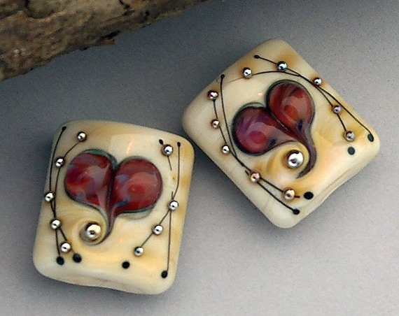 Heart Lampwork Beads For Earrings Glass Beads For Jewelry Supplies For Bracelet Pendant Necklace Craft Supplies Debbie Sanders SRA Artist