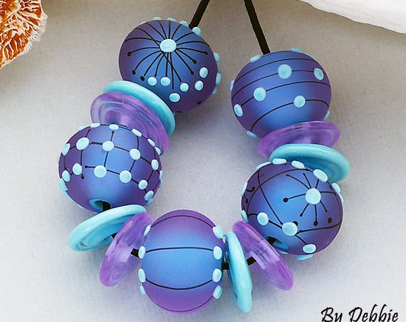 Lampwork Beads Glass Beads Artisan Beads Handmade Beads Handmade Lampwork Round Beads For Jewelry Supplies Matted Beads Debbie Sanders