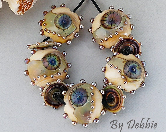 Multicolour Dark  Shards Lentils Handmade Glass Lampwork  Beads