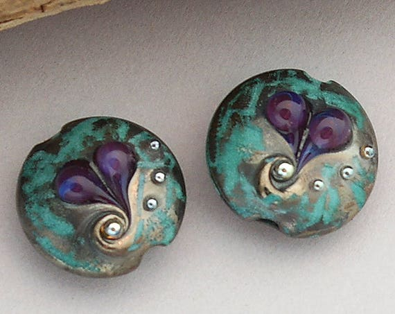 Heart Lampwork Beads For Earrings Lentil Heart Beads For Jewelry Making Teal Glass Beads For Jewelry Supplies Glass Heart Craft Supplies