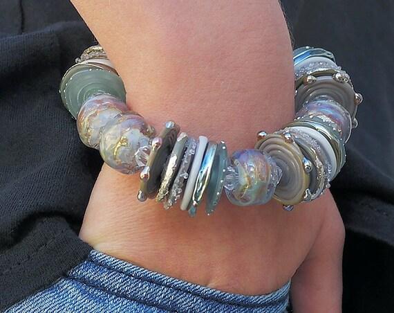 Lampwork Bead Bracelet Handmade Bracelet Glass Bracelet Boho Bracelet Holiday Bracelet Jewelry Beaded Bracelet Gift For Her