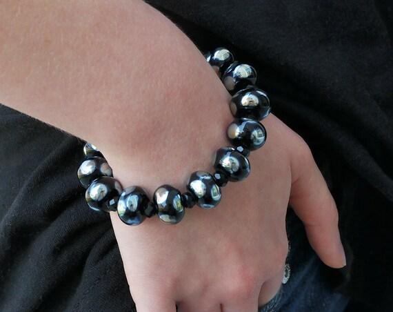 Black Boho Bead Bracelet Bohemian Jewelry Lampwork Beads Handmade Black Bracelet Round Bead Bracelet Gift For Her Patterned Jewelry Bracelet