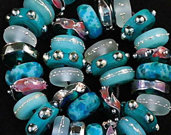 Lampwork Beads Glass Beads For Jewelry Making Craft Supplies For Jewelry Supplies Handmade Bracelet Ocean Beads Disc Beads Debbie Sanders