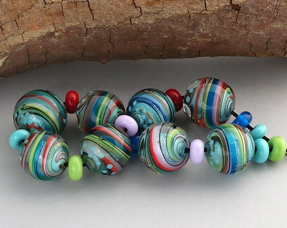 Marble Lampwork Beads For Jewelry Supplies Glass Beads For Jewelry Sets Spiral Beads Art Beads For Jewelry Supplies Focal Debbie Sanders