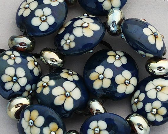 Flower Lampwork Beads For Statement Necklace Navy Glass Beads For Jewelry Supplies Flower Beads For Jewelry Design Debbie Sanders