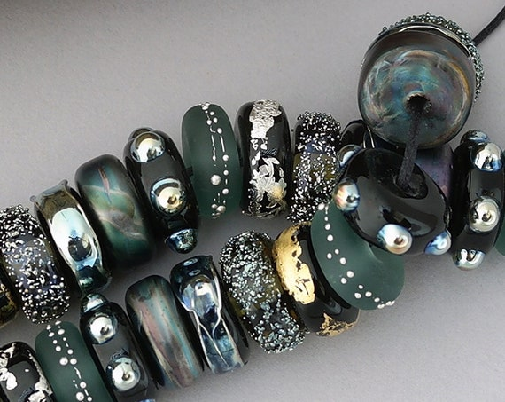 Lampwork Beads Glass Beads Steampunk Jewelry Making Craft Supplies For Jewelry Supplies Boho Bracelet Black Beads Disc Beads Debbie Sanders