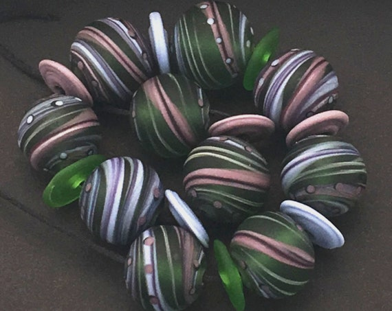 Marble Lampwork Beads For Jewelry Making Handmade Round Glass Beads For Jewelry Set Swirl Beads Jewelry Supplies Bead Bracelet Artisan Beads