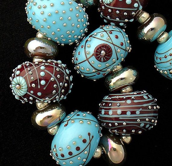 Lampwork Beads For Jewelry Patterned Beads Statement Necklace Boho Bracelet Jewelry Supplies  Large Round Beads Debbie Sanders SRA Artist